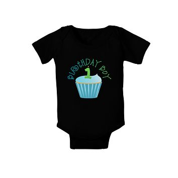 Cute First Birthday Cupcake - Birthday Boy Baby Bodysuit Dark by TooLoud