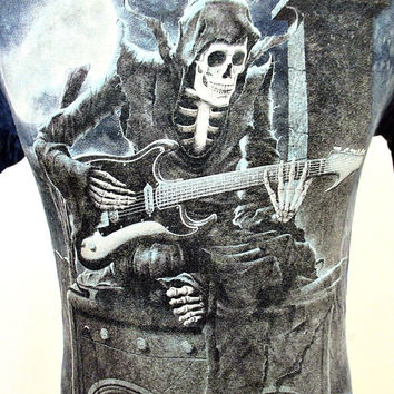 Vintage 1990's Death Skull Rock And Roll Playing Guitar T-Shirt Small