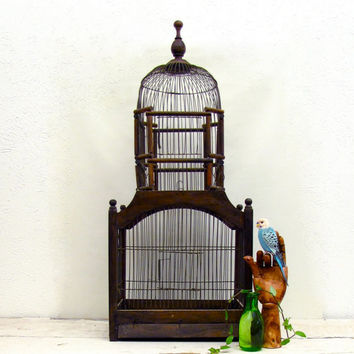 RESERVED for AG Vintage Victorian Dome style birdcage Wire Wood 2 spring doors 3 feet tall Pet Bird Cage