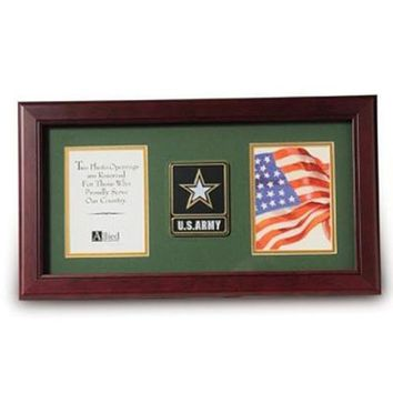 Go Army Medallion Double Picture Frame Hand Made By Veterans