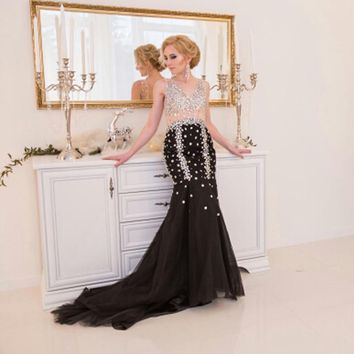 Black Mermaid Evening Party Dress Long 2018 LORIE Robe De Soiree Rhinestones Special Occasion Prom Dresses Formal Evening Gowns