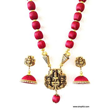 Silk Thread Lakshmi Pendant Long chain Necklace with Single layer Jhumka Earring Set