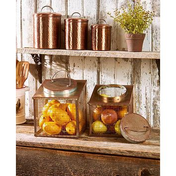 Kitchen Countertop Rustic Country Decorative Fruit Vegetable Storage Organizer 2 Bin Set