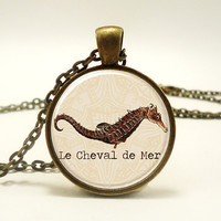 Seahorse Necklace, Le Cheval De Mer, The Sea Horse Nautical Jewelry (0856B1IN)