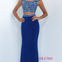 Long Two Piece Blush Prom Dress with Beaded Top