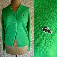 Vintage Neon Green Button up Sweater by NaikFUR on Sense of Fashion