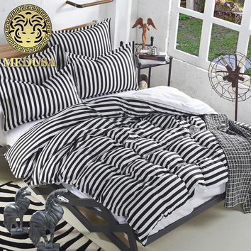 Medusa solid stripes bedding queen full single duvet/doona cover flat sheet pillow cases set/royal/black/purple