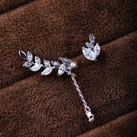 Silver Leaves and Tassel Rhinestone Asymmetrical Earrings Set