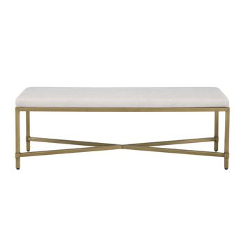 Strand Upholstered Bench Sunbrella Cast-Silver Fabric, Brushed Gold