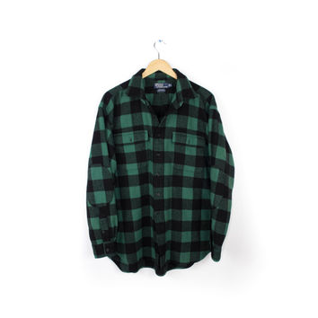 Ralph Lauren Whitfield Thick 100% Cashmere Green and Black Buffalo Plaid Flannel Shirt / Mens Large - Extra Large