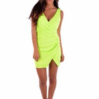 Sleeveless Neon Green Party Dress with V Neck
