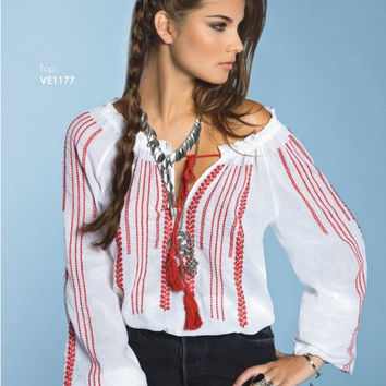 Elan Red Embroidered & Tassels Boho Peasant Top-White/Red