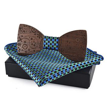 Black Walnut Paisley Carved Bow Tie and Pocket Square Set