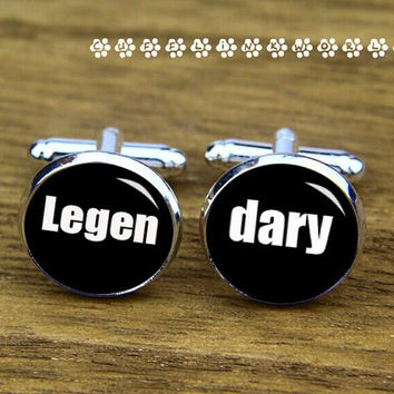 Legen  dary   ,Groom  bride & groomsmen  cufflinks, , wedding cufflink,silver cufflinks,Men cufflinks