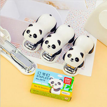 New Packing 1pc Mini Stapler Set Of Panda Cartoon Learning Supplies Office Paper Clip Binding Book
