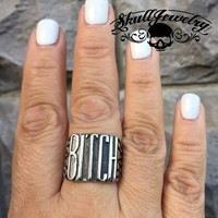 'Biker Bitch' Stainless Steel Ring (278)