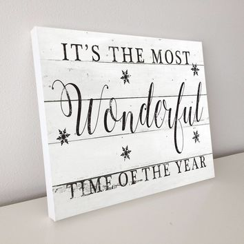 It's The Most Wonderful Time of The Year, Shiplap Canvas Art, 20x16