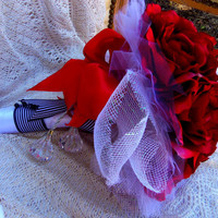 Real Touch Rose Wedding Bouquet Red and White Bridal Bouquet