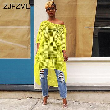Fishnet Cut Out Sexy Loose Dress Women One Shoulder Half Sleeve See Through Dress Summer Neon Green Front Short Back Long Dress