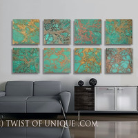 Oxidized Metal Abstract paintings, ORIGINAL 8 panel ( 15 x 15 Inch) Abstract Wall Art -  Copper, Green, red rust, Bronze, Gold