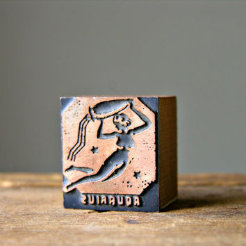 Aquarius Antique Letterpress Print Block Nude Woman Art Deco Zodiac Vintage Wooden Copper Newspaper Wood Printing Die Printer's Type