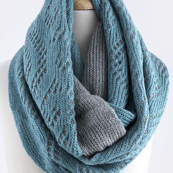 Two Tone Soft Knit Infinity Scarf