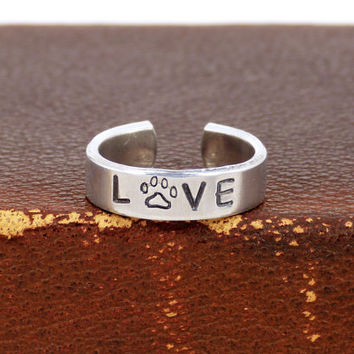 LOVE - Animal Rescue - Pets - Adjustable Aluminum Ring
