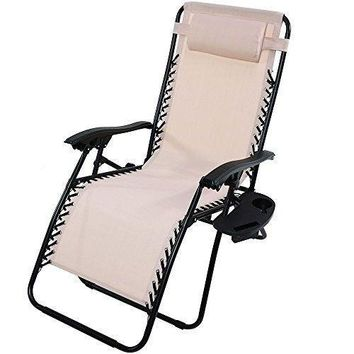 Outdoor Lounge Chair Oversized Zero Gravity Pillow and Cup Holder Dark Brown