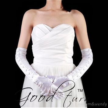 Women Full Finger Glove Prom Clothing Satin Night Party Sexy High Quality Banquet White Silky F Long Ladies Button Gloves