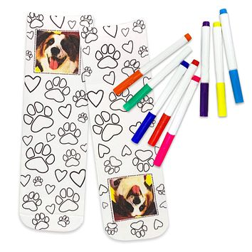 Personalized Color In Photo Crew Socks with Paw Print Design, Free Fabric Markers included