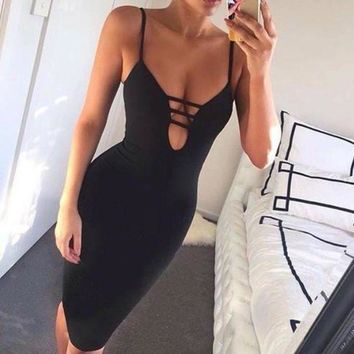 LM0FN Deep V-Neck Bodycon Tight Strap Mini Dress
