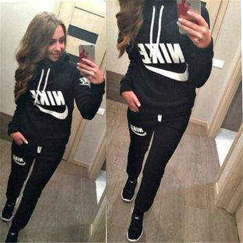"""Nike"" Women Casual Letter Print Hooded Long Sleeve Sweater Trousers Set Two-Piece Sportswear"