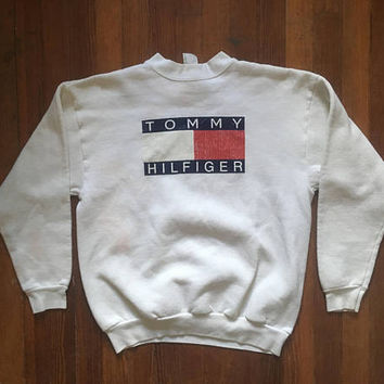 Vintage 1990s TOMMY HILFIGER Spellout White Cotton Crew Neck SWEATSHIRT Size Small Hipster Grunge Cub Swag Hip Hop Polo Ralph Lauren Bear