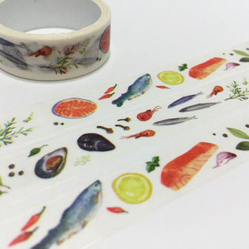 Food masking tape 3M sea food fishes meal sticker tape kitchen dinner washi tape cooking planner food label food party invitations gift