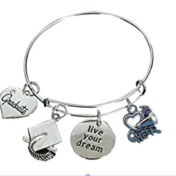 Cheer Graduation Bangle Bracelet