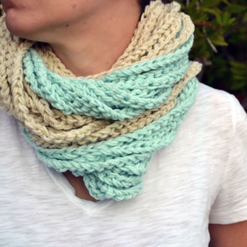 pale green and cream chunky crocheted loop infinity scarf, cowl, chain necklace