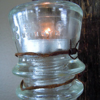 Set of (2) Rustic Handmade Reclaimed Barn Wood Vintage Glass Insulator Sconces Primitive Wall Decor Candleholders Unique Gift