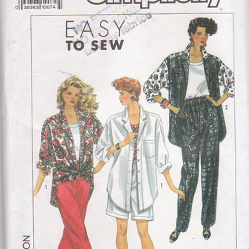 Easy oversized button front shirt pattern with elastic waist pants or shorts and tank top misses size 6 8 10 12 14 Simplicity 9603 UNCUT
