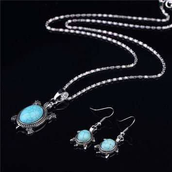 Turtle Shaped  Ancient Silver Plated Necklace Earrings Gift Set