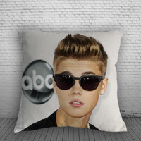 Justin Bieber Wear Glasses for Square Pillow Case 16x16 Two Sides, 18x18 Two Sides, 20x20 Two Sides