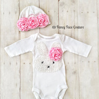 Baby Girl Newborn Take Home Outfit Bunny Pink Rosettes Baby Hat Little girls Boutique clothes baby girl newborn Sizes Preemie - 24 Months