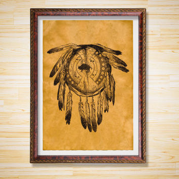 Dream Catcher poster Shield decor Native American print