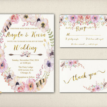 Digital Floral Wedding Invitation Purple Flowers Boho Printable Tribal Wedding Card Faux Gold Invitation Suite Rustic Peonies Invite - WS025