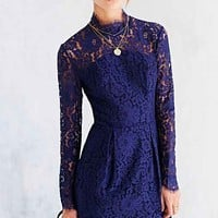 Keepsake Run The World Long-Sleeve Lace-Top Shift Dress- Navy