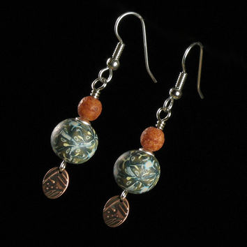 Rustic Dangle Earrings - Polymer Clay Jewelry - Drop Earrings - Art Jewelry -  Clay Earrings - Copper Earrings
