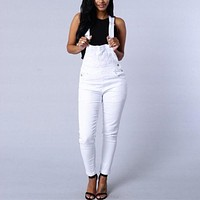 Rompers Womens Jumpsuit 2016 Autumn Sexy Strapless Sleeveless Long Playsuits Casual Denim Overalls Plus Size Long Pants