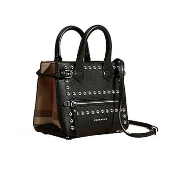 ONETOW Tote Bag Handbag Burberry The Baby Banner in Studded Leather and House Check Black Item 40123881