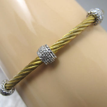 Vintage 14K Yellow Gold Sterling Cable Bracelet Stainless Steel Stacking Bangle Savvy Cie