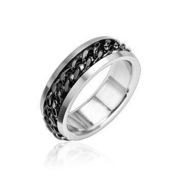 Optimum Black - Solid Chain Of Black Twisted Steel Stainless Steel Chained Ring