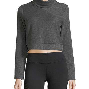 Alo Yoga Soleil Long-Sleeve Cropped Turtleneck Top
